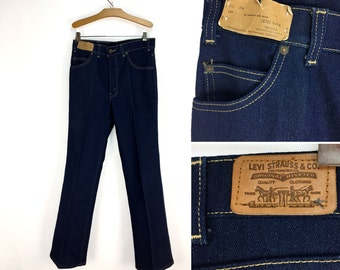 RARE Vintage 70s Mens LEVI'S 522 Brown Tab Straight-Leg Denim Jeans 30 x 34 // 1970s // 30 Waist // 34 Inseam // Cotton-Poly // Western