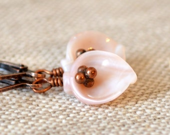 Pink Seashell Earrings, Copper Leverback Earwires, Sea Shell Jewelry, Blush Pink, Antiqued Copper, Jewelry for Women