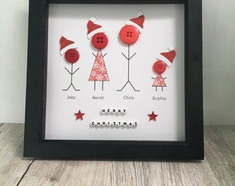 Handmade Christmas personalised family button art // button picture // home decor // wall art