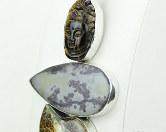 GERMAN PYROLUSITE BUDDHA Ammonite Fossil 925 S0LID Sterling Silver Pendant + 4mm Snake Chain & Free Worldwide Shipping mp173