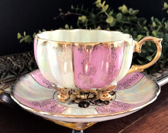 Tea Cup and Saucer, 3 Footed Pearlized Teacup, Opalescent Japanese Bone China 14105