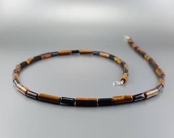 Mens necklace Tiger-eye and Onyx.Modern/Genuine Gemstone/Designer necklace/Healing Stones/Men jewelry/Black necklace - gift idea Christmas