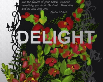 """Original foral painting by Nancy Long ,  """"Delight""""  A square red and black design with scripture. Nancylongdesigns"""