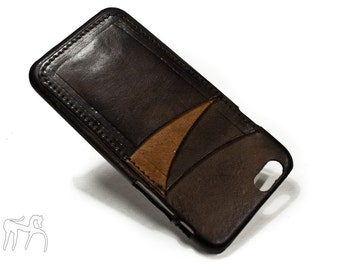 """iPhone 6 4.7"""" leather credit card case (choose # of slots and Accent) col CASTAGNO"""
