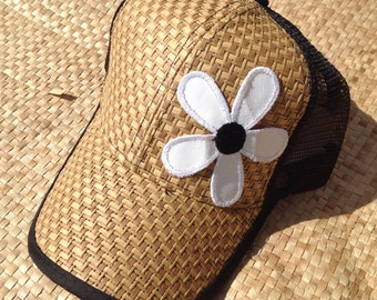 Snap Back Hat with flower.
