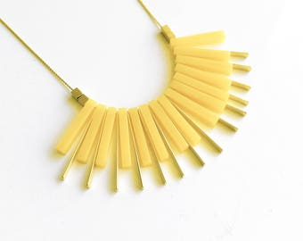 Yellow Beads Necklace, Acrylic Jewelry, Geometric Necklace, Laser Cut Necklace, Evening Necklace, Yellow Acrylic Necklace, Fan Necklace