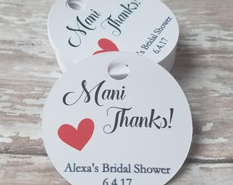 Mani Thanks, Nail Polish Favor, Bridal Shower Favor, Baby Shower favor, Wedding Shower Tag, Wedding Shower, Bridal Shower, Heart (145)