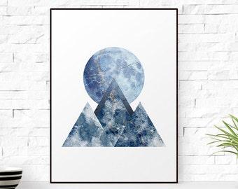 SALE - 50% Mountain Print, Geometric indigo print, moon print blue, blue indigo print, blue geometric print, Mountain Art Mountain Poster