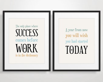 Office Decor, Christmas Gift for Coworker, Inspirational Quote Art, Motivational Print - Set of 2