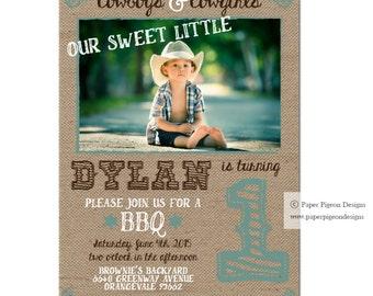 "Cowboys and Cowgirls Invitation - Digital File - 5"" x 7"" Boy or Girl Invitation - Burlap Printable PDF File -  Birthday Party Invitation"