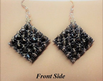 Swarovski Silver Night and Black Crystal Beaded Netted Earrings,  Double Sided, Woven Earrings