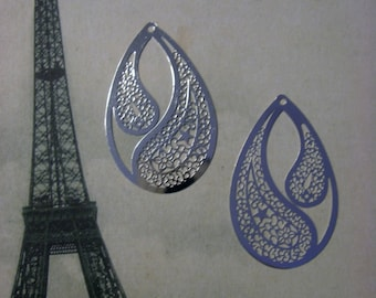 Laser Lace Filigree Findings, Bright Silver Plated (2)