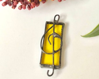 Glass Pendant treble clef, Musical Symbol, Yellow Stained Glass treble clef, Music Suncatcher Design, Handcrafted Glass Sun Catcher, father