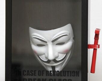 Guy Fawkes Mask, V for Vendetta, Anonymous Shadow Box, Vendetta Wall Decor, Revolution Art Box, In Case Of Revolution Break Glass, Art Gift
