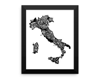 Italy typography map art FRAMED print custom personalized country poster wedding engagement graduation gift anniversary wall art decor