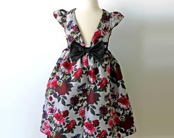 Grey Gardens Dress, Silk Dress, Holiday Dress, Rose Dress, Floral Dress, Grey Dress, Toddler Holiday Dress, Girls Holiday Dress, Flower Girl