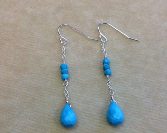 Turquoise Faceted Briolette, Turquoise Rondelles Sterling Silver Earrings 210