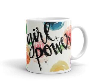 "floral ""girl power"" mug"