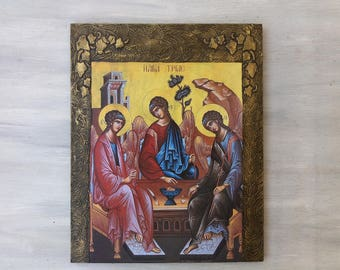 SALE,Holy Trinity Wooden Icon,Holy Trinity Art,Greek Orthodox Art,Handmade Wooden Icon,Religious Presents,Religious Art,Christian Arts,