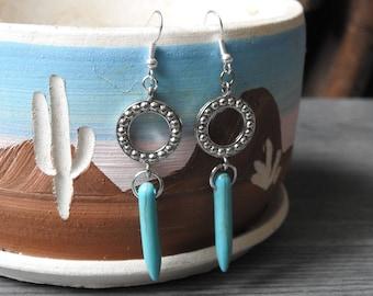 Turquoise Spike Earrings - Turquoise Western Earrings - Spike Hoop Earrings - Spike Dangle Earrings - Turquoise Boho Earrings - Cowgirl Gift