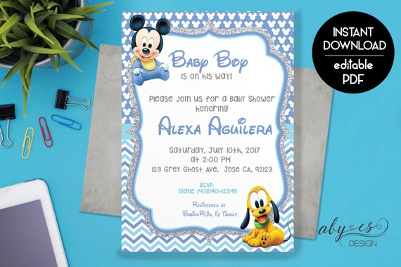 Baby mickey baby shower invitation baby shower invitation baby mickey baby shower invitation baby shower invitation download digital invitation baby mickey mouse baby boy invitation filmwisefo Images