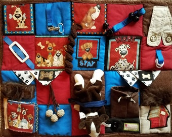 A New Best Friend Fidget Blanket Fidget Quilt for Dementia, Alzheimer, Stroke and Nursing Home patients with many textures and activities