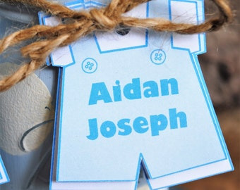 Personalized Baby Boy Shower Tags, Baby Boy Onesie Shower Tag, Mason Jar Shower Tags, Blue and White Boy Overalls, Shower Favor Tags - 002