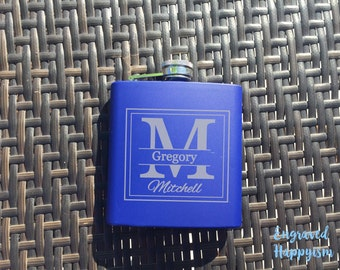 Blue Groomsmen Gift, Personalized Engraved Groomsman Flask, Groomsman Flask, Wedding Party Flask, Best Man Flask, Hip Flask,Happyism