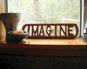Imagine-Peace Quote and Lyrics from John Lennon-Wood Carved Sign