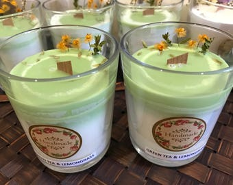 Aroma Green tea Soy candle-Gift for her-Gift for him-Natural Handmade