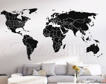world map countries wall decal usa united states canada province border outline dry erase chalkboard