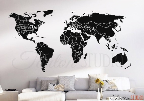 world map countries wall decal usa united states canada