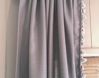 White Curtain With French Tassel Trim And Tiebacks