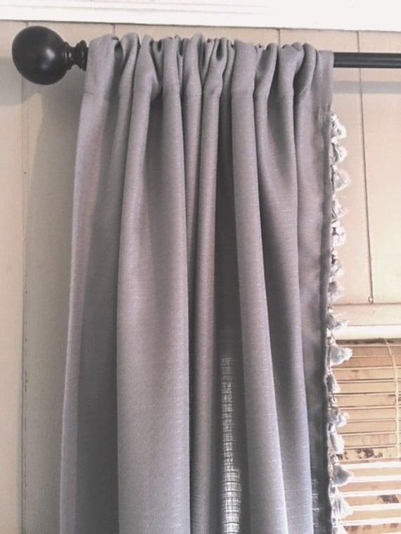 Grey Curtain With Grey Tassel Trim