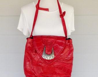 Red Leather Shoulder Purse, Park Avenue Int.