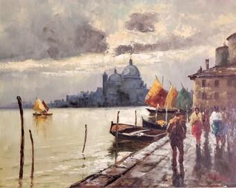 Original Artwork Oil Painting by Italian artist Luigi De Luca (Luigi Loir) Venice Italy Late 19th century Academy of Arts Paris