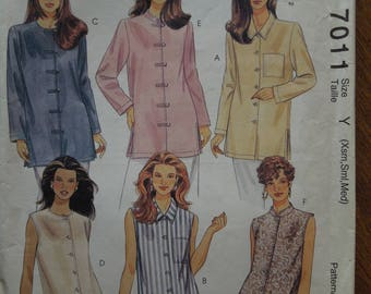 McCalls 7011, sizes XS-medium, UNCUT sewing patterns, craft supplies, tunics, misses, womens