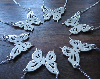 Silver Handmade Butterfly Pendant Necklace