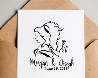 Custom Wedding, Custom Stamps, Personalized Stamp, Save The Date Stamp, Wedding Stamp, Disney Princess, Beauty and The Beast Rubber Stamp
