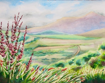 Ring of Kerry, Ireland, Watercolor Painting, Flowers, Landscape