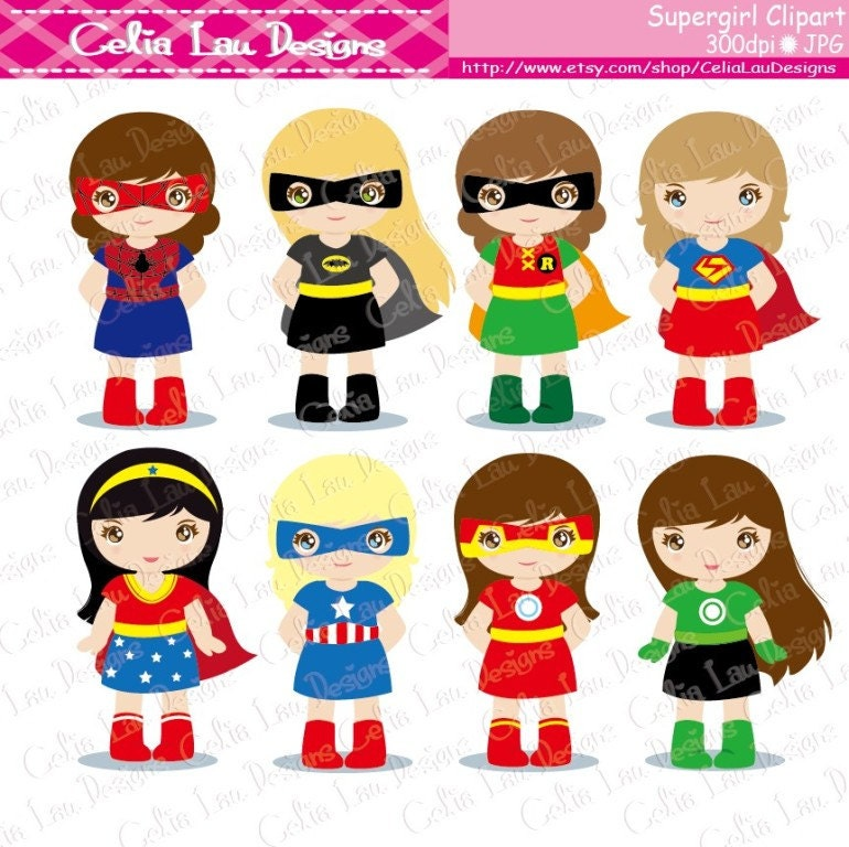 superhero clipart supergirl clipart s019 girl superheroes rh etsy com little girl superhero clipart girl superhero clipart free