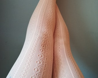 Pink Coral Salmon tights stockings lace pantyhose suededead