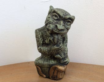 Vintage Cute Gargoyle Figurine -Cast Chalkware, Hand Painted Dark Green and Gold, 'BS'