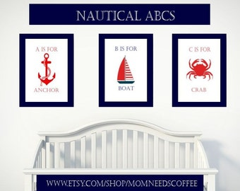 Printable Nautical Nursery Wall Decor, Nautical ABCs, nautical nursery theme, nautical nursery art, nautical prints, Baby Boy Nursery Art,