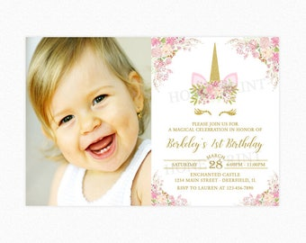 Unicorn Birthday Party Invitation, Unicorn Head Invitation, 1st Birthday, Girl, Gold Glitter, Pink, Photo, Printable or Printed