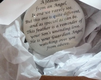 In Memory of SON Memorial Christmas Ornament - Sympathy Gift -  Child Loss - Feather from an Angel - Remembrance Keepsake Cristmas Bauble