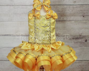 Princess Dress, Princess First Birthday Outfit, First Birthday Outfit Girl, Yellow Princess Dress, Princess Costume