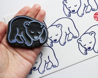 sleeping polar bear stamp | bear cub rubber stamp | woodland animal stamp | diy birthday christmas card making | hand carved by talktothesun