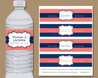 Coral and Navy Water Bottle Labels - Navy and Coral Drink Wrappers - Printable EDITABLE Template - Bridal Shower, Birthday, Wedding Labels