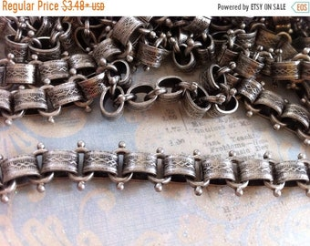 MOM SALE Book Chain Vintage Style High Quality Antique Silver plated Vintage reproduction wide patterned link Book chain